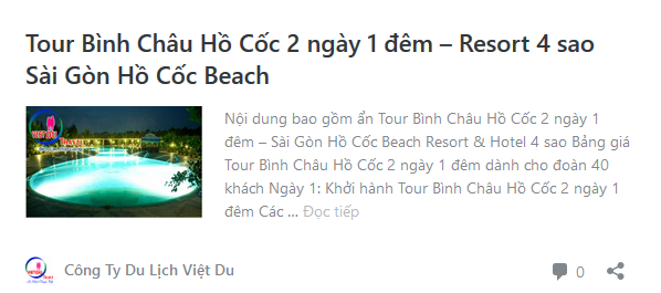 Tour Bình Châu Hồ Cốc 2 ngày 1 đêm